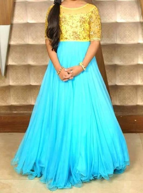 Latest Party Wedding Long frocks designs Collection 2017 2018 kids Teenagers Sky Blue