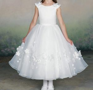 Latest Party Wedding Long frocks designs Collection 2017 2018 kids Teenagers White 1